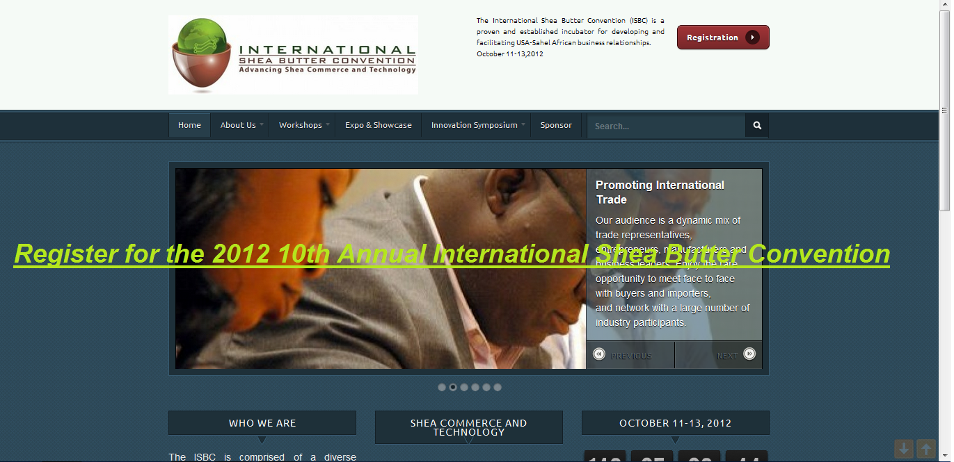 isbc website56 2012 10th Annual International Shea Butter Convention